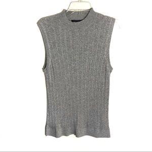 Banana Republic gray ribbed sleeveless sweater